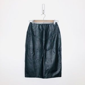 Vintage Black Leather High Rise Pencil Skirt